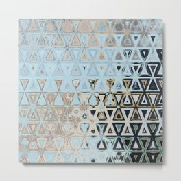 Asymmetrical Blue and Gold Geometric Design Metal Print