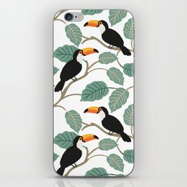 Toucan birds and palm leaves in the jungle iPhone Skin