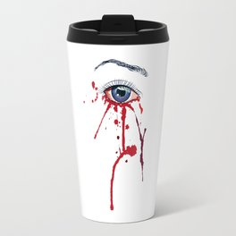Blue eye with red paint Travel Mug