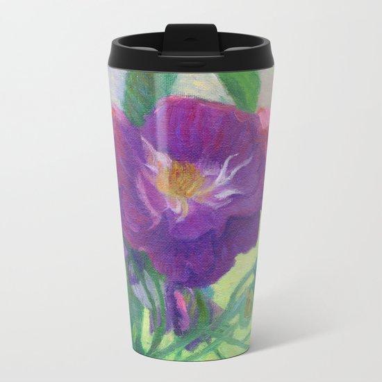 Purple Roses Metal Travel Mug