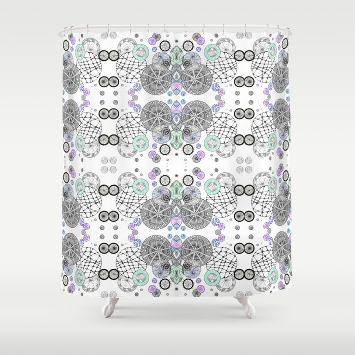 Space Doodles Pattern Shower Curtain