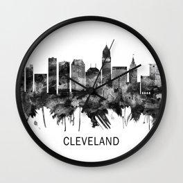 Cleveland Ohio Skyline BW Wall Clock