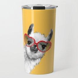 Fashion Hipster Llama with Glasses Travel Mug