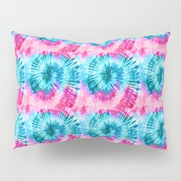 Summer Vibes Tie Dye Spirals in Pink Blue Pillow Sham