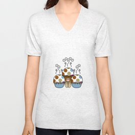 Cute Monster With Blue And Brown Polkadot Cupcakes Unisex V-Neck