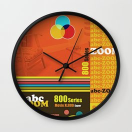 Homage to home movies in red Wall Clock