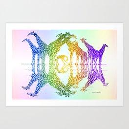 GIRAFFE REFLECTIONS Art Print