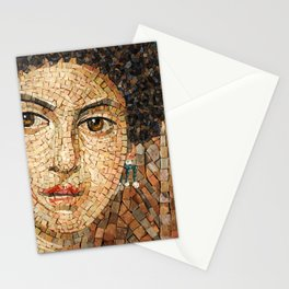 Detail of Woman Portrait. Mosaic art Stationery Cards