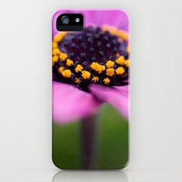 Pink flower, yellow black heart iPhone Case