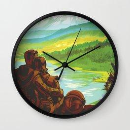 NASA Retro Space Travel Poster #2 - Earth Wall Clock