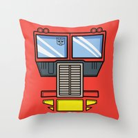 optimus prime Throw Pillows featuring Transformers - Optimus Prime by CaptainLaserBeam