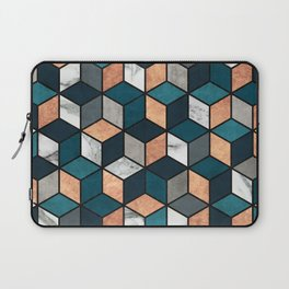 Copper, Marble and Concrete Cubes with Blue Laptop Sleeve