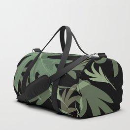 Trio Palms Dark jungle autumn fall tropical Palm leaves green black pattern , society6 Duffle Bag