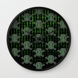 Hacker Skull Crossbones (pattern version) Wall Clock