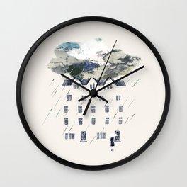 Rainy on the street Wall Clock