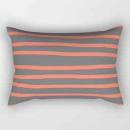 Simply Drawn Stripes Deep Coral on Storm Gray Rectangular Pillow