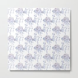 Watercolor rain Metal Print
