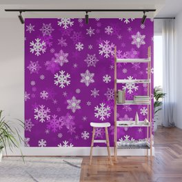 Light Lilac Snowflakes Wall Mural