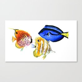Coral Fish, tropical fish artwork, coral sea world Canvas Print