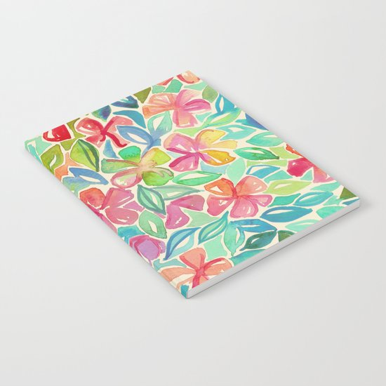 Tropical Floral Watercolor Painting Notebook