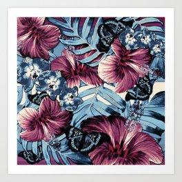 Vintage Chambray Burgundy Aloha Art Print