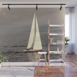 Sailing boat on the lake Wall Mural
