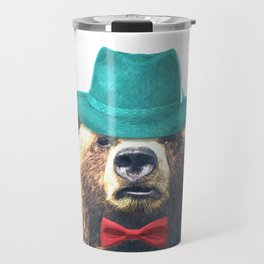 Funny Bear Illustration Travel Mug