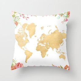 Bohemian world map with watercolor flowers Throw Pillow