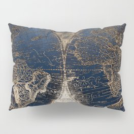 World Map Deep Blue and Gold Pillow Sham