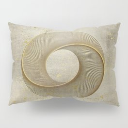 Geometrical Line Art Circle Distressed Gold Pillow Sham