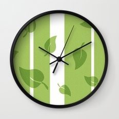 Scattered Green Leaves Wall Clock
