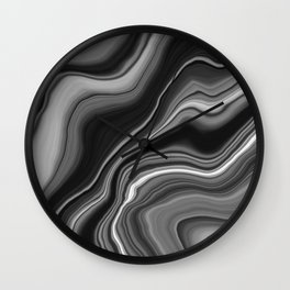 Liquid Black Gray White Agate Dream #1 #gem #decor #art #society6 Wall Clock