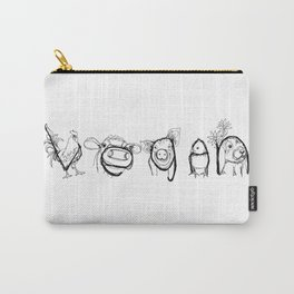 VEGAN drawing (rooster/cow/pig/chick/bunny), prints/clothing/wall tapestry/coffee mug/home decor Carry-All Pouch