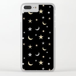 Gold and silver moon and star pattern on black background Clear iPhone Case