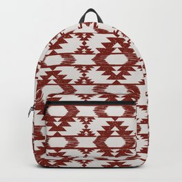 Bright red and white brushed tribal kilim pattern Backpack
