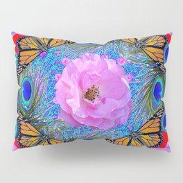 MONARCH BUTTERFLIES & ROSES  PEACOCK ART & RED ABSTRACT Pillow Sham