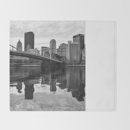 Black and White Wavy Reflections Throw Blanket