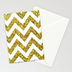 GOLD GLITTER CHEVRON Stationery Cards