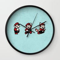 mario bros Wall Clocks featuring Super Mario Bros 3 by Brandon Riesgo