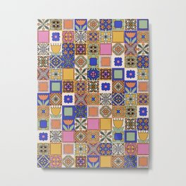 Hand Drawn Floral Patchwork Metal Print