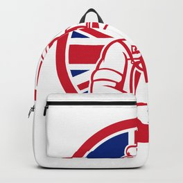 British Artisan Cheese Maker Union Jack Flag Icon Backpack