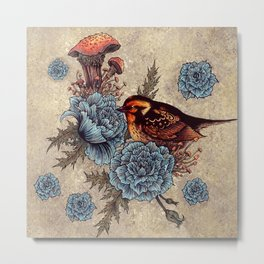Bird Blue Roses Metal Print