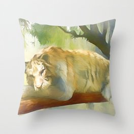 Chilling Tiger Throw Pillow