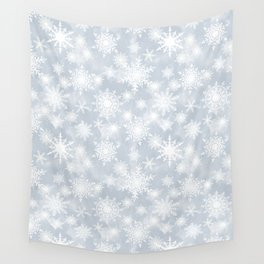 Snowflakes . White Lacy snowflakes on a light grey Wall Tapestry