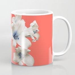 Blue Heart Lilies on Living Coral Coffee Mug