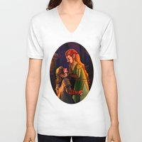 kili V-neck T-shirts featuring Tauriel and Kili 3 by Hattie Hedgehog