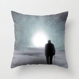 Old Man Walking Towards Heaven Throw Pillow