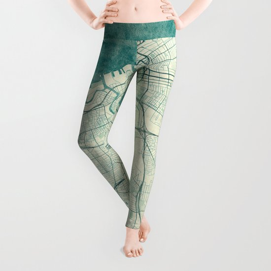 Cleveland Map Blue Vintage Leggings