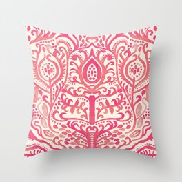 Strawberry and Cream Watercolor Tulip Damask Throw Pillow