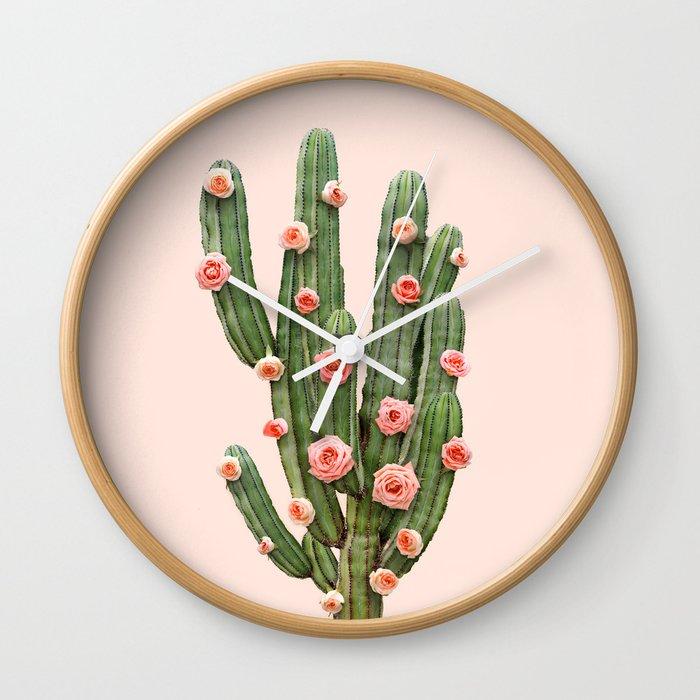CACTUS AND ROSES Wall Clock